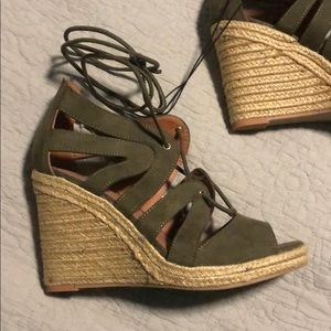 H&M Shoes - Brand new Tie up green H&M wedges